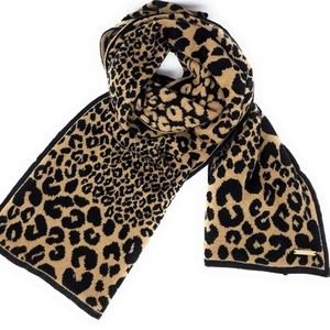 Michael Kors Leopard Print Scarf with name plate